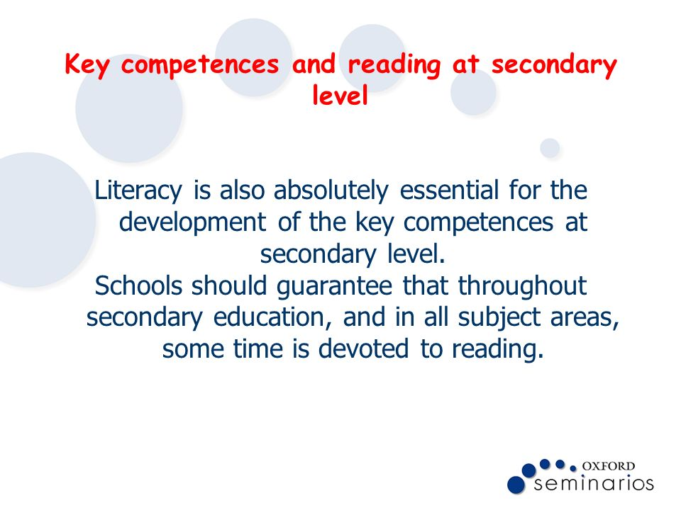 Key competences and reading at secondary level