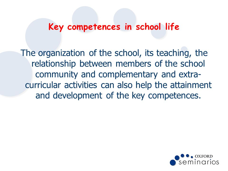 Key competences in school life