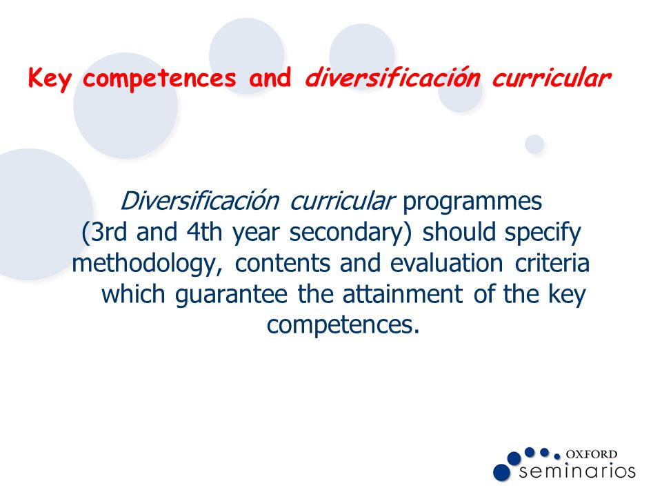 Key competences and diversificación curricular