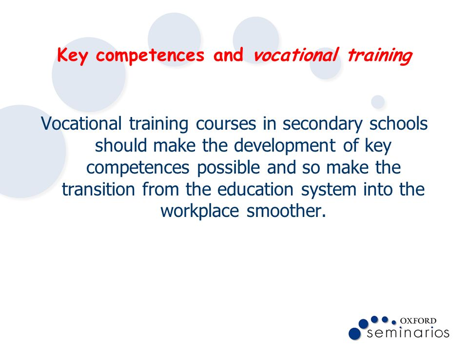 Key competences and vocational training