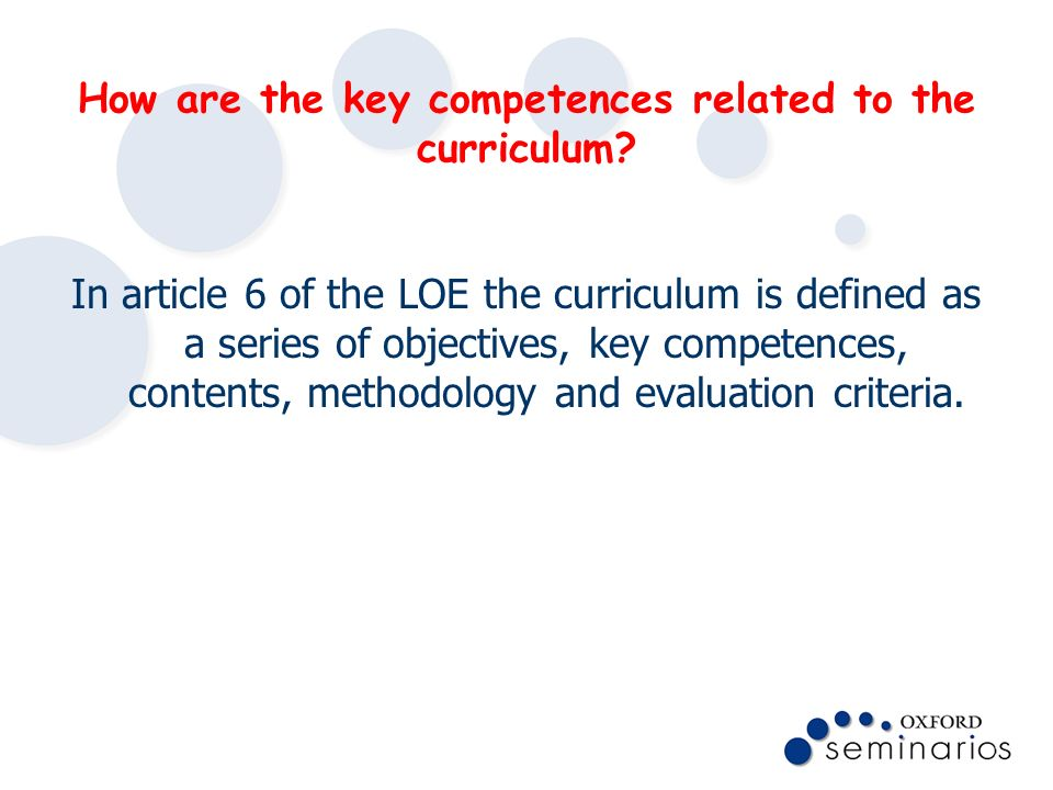How are the key competences related to the curriculum