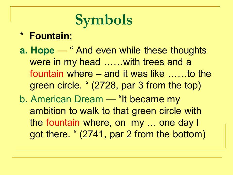Symbols * Fountain: