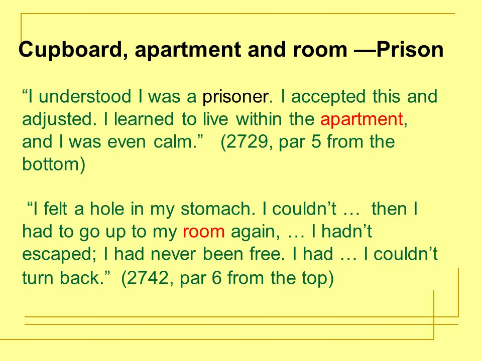Cupboard, apartment and room —Prison