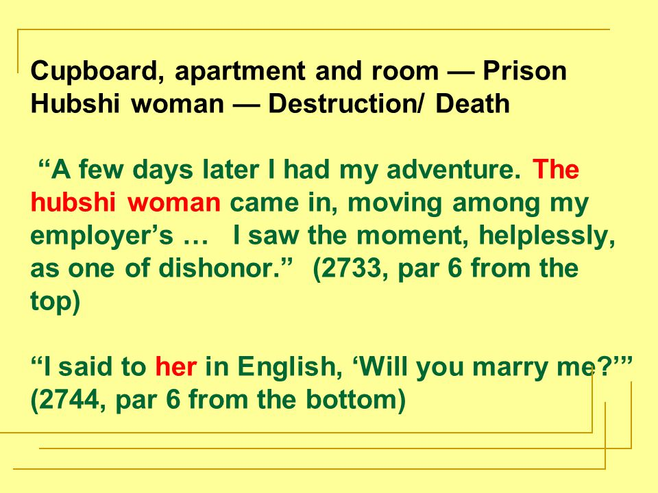 Cupboard, apartment and room — Prison Hubshi woman — Destruction/ Death A few days later I had my adventure.
