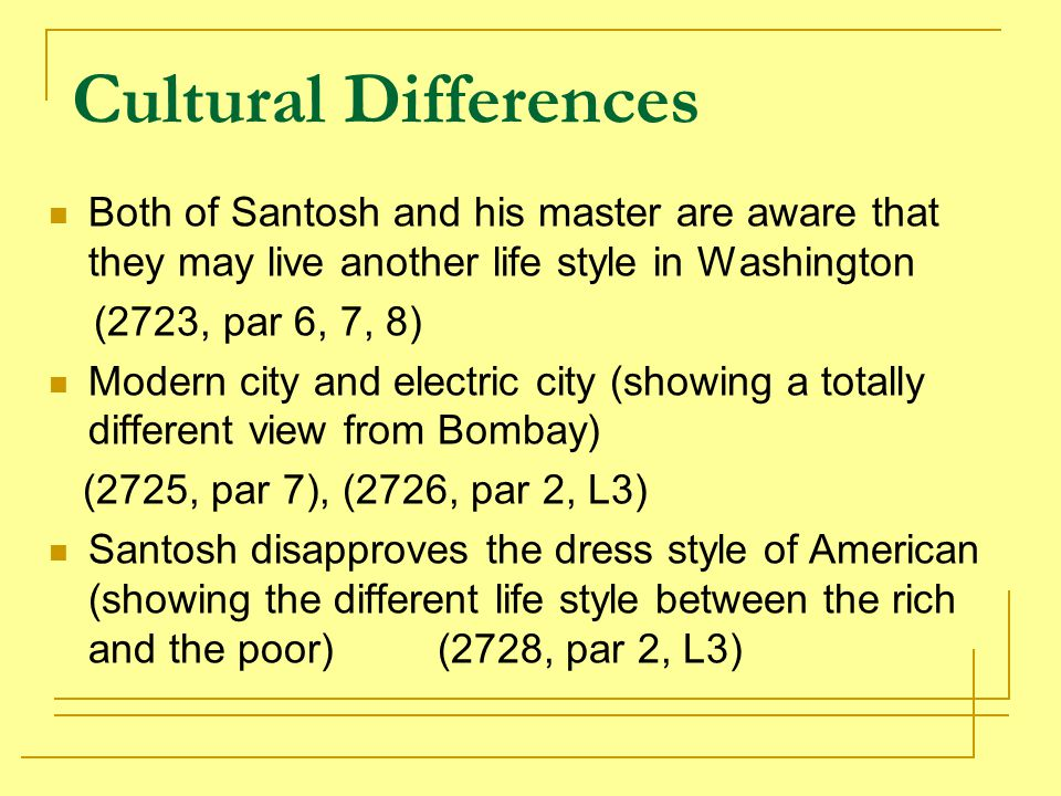 Cultural Differences Both of Santosh and his master are aware that they may live another life style in Washington.