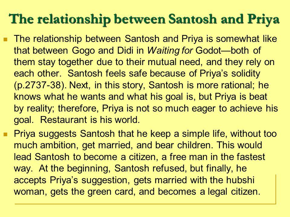 The relationship between Santosh and Priya
