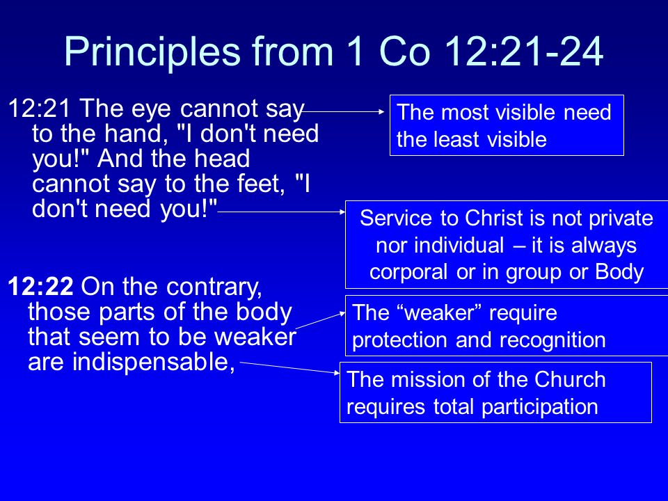 Principles from 1 Co 12:21-24 12:21 The eye cannot say to the hand, I don t need you! And the head cannot say to the feet, I don t need you!