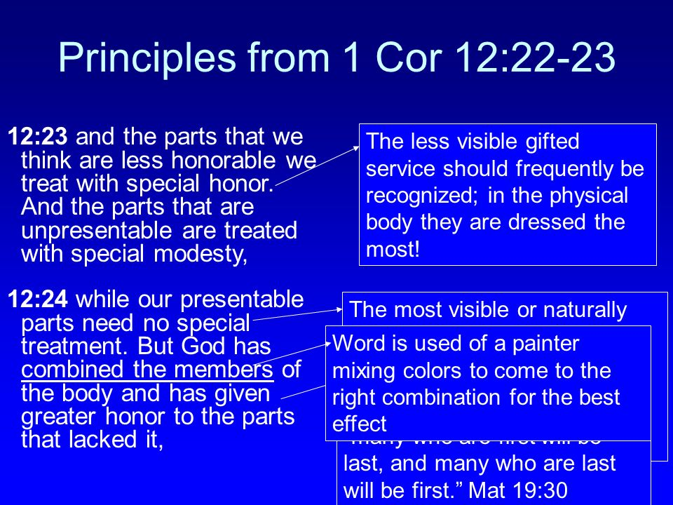Principles from 1 Cor 12:22-23