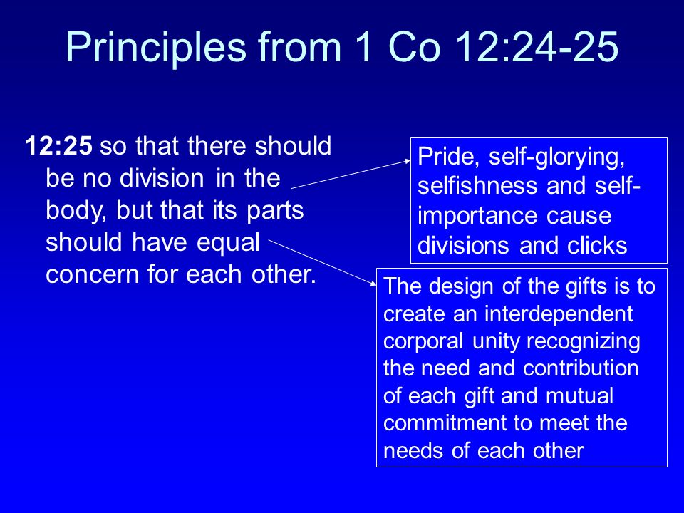 Principles from 1 Co 12:24-25 12:25 so that there should be no division in the body, but that its parts should have equal concern for each other.