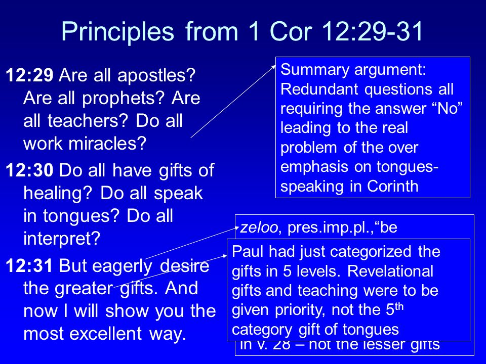 Principles from 1 Cor 12:29-31