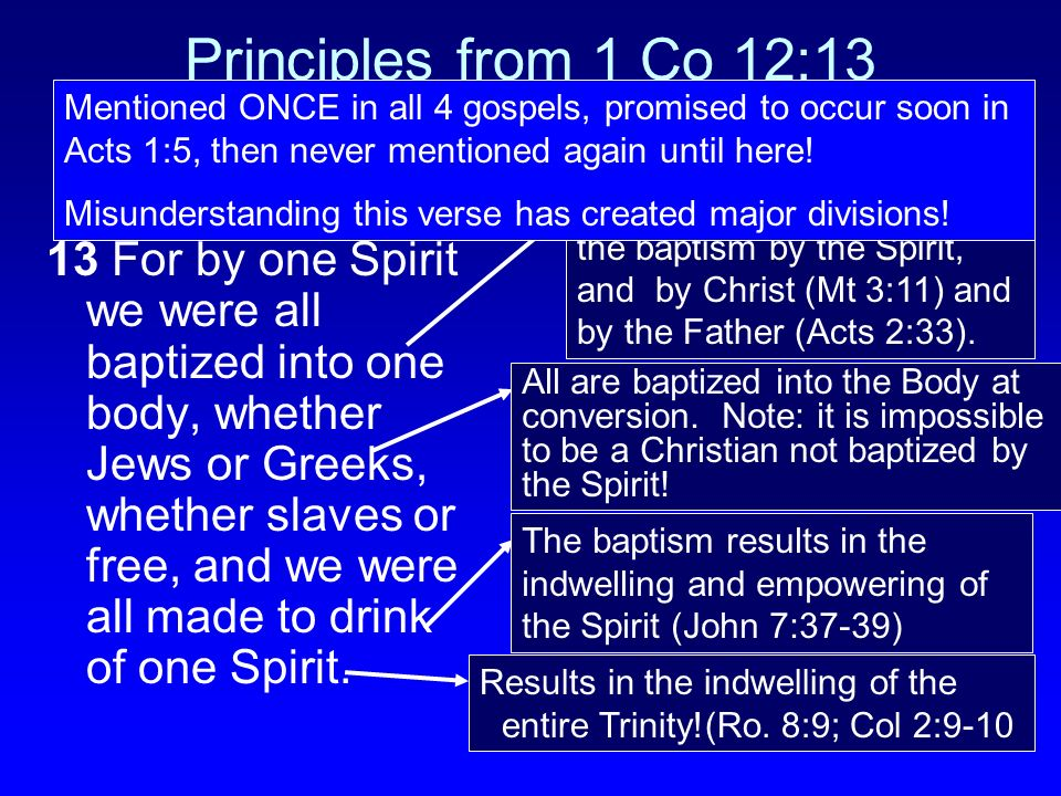 Principles from 1 Co 12:13 Mentioned ONCE in all 4 gospels, promised to occur soon in Acts 1:5, then never mentioned again until here!