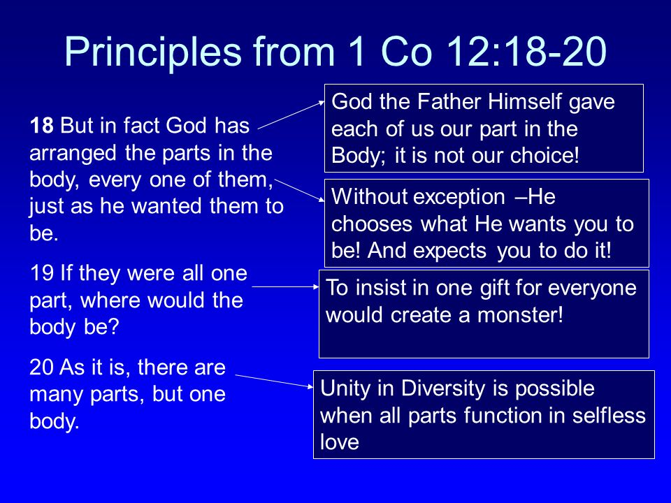 Principles from 1 Co 12:18-20 God the Father Himself gave each of us our part in the Body; it is not our choice!