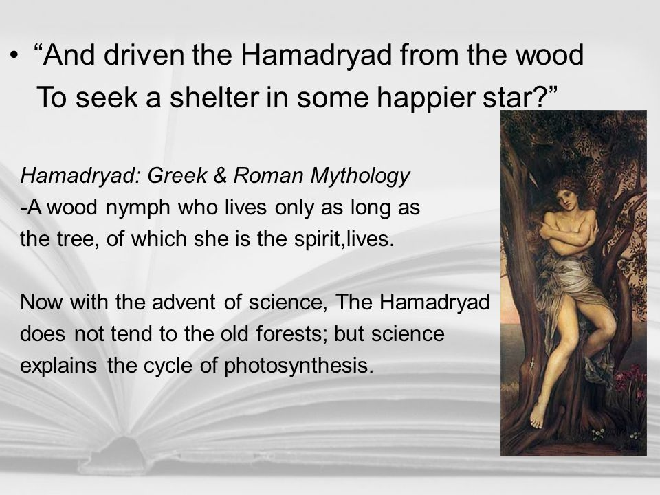 And driven the Hamadryad from the wood