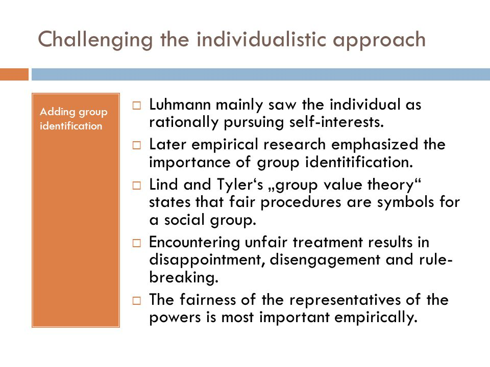 Challenging the individualistic approach