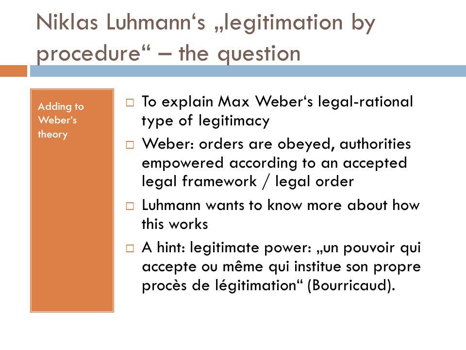 """Niklas Luhmann's """"legitimation by procedure – the question"""