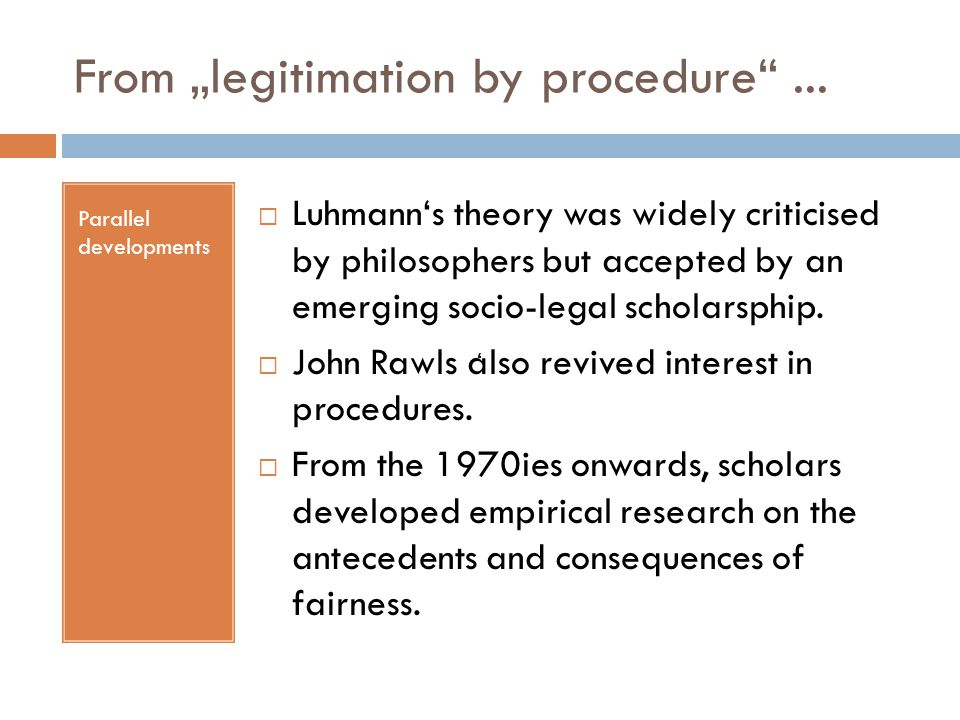 "From ""legitimation by procedure ..."