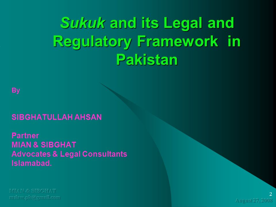 Sukuk and its Legal and Regulatory Framework in Pakistan