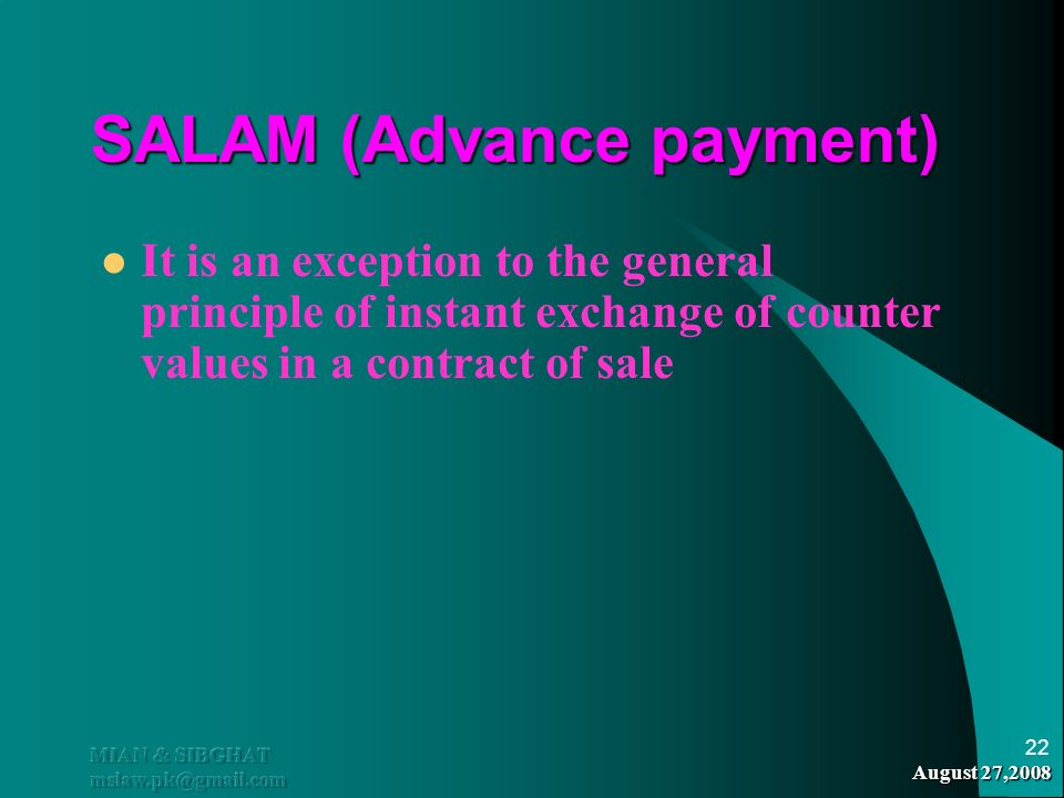 SALAM (Advance payment)