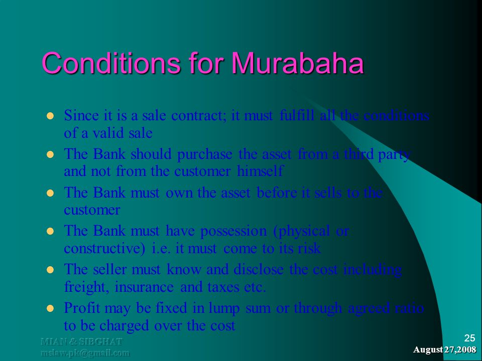 Conditions for Murabaha