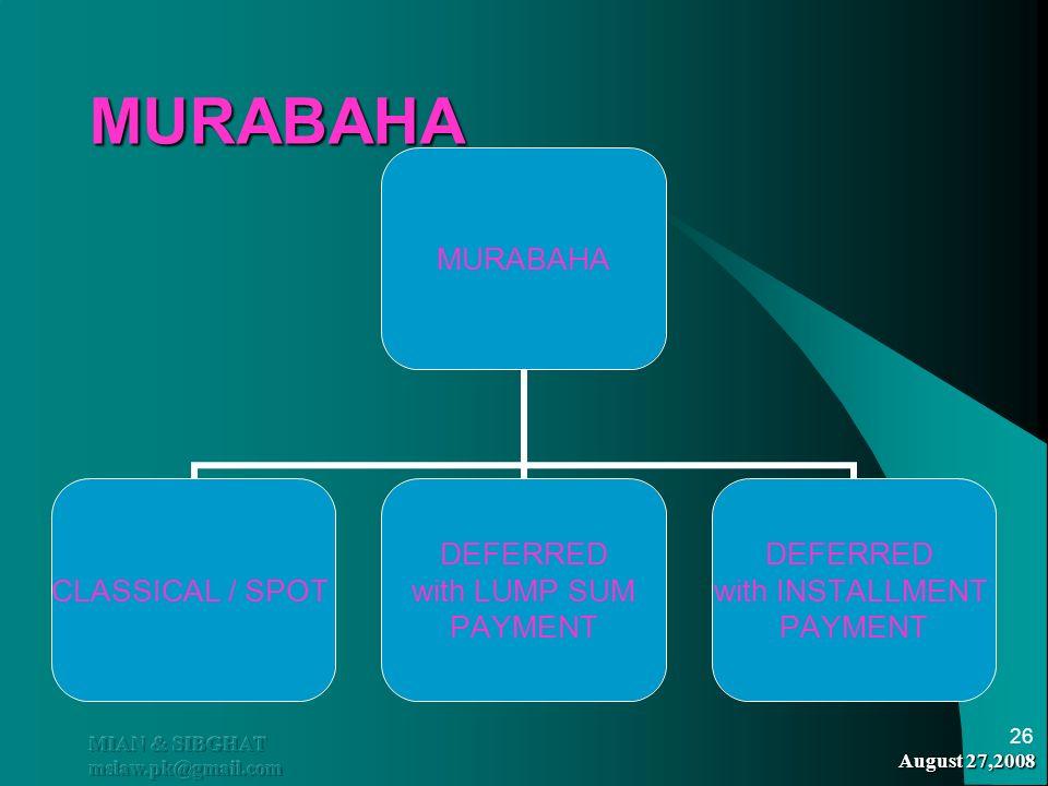 MURABAHA MIAN & SIBGHAT mslaw.pk@gmail.com August 27,2008