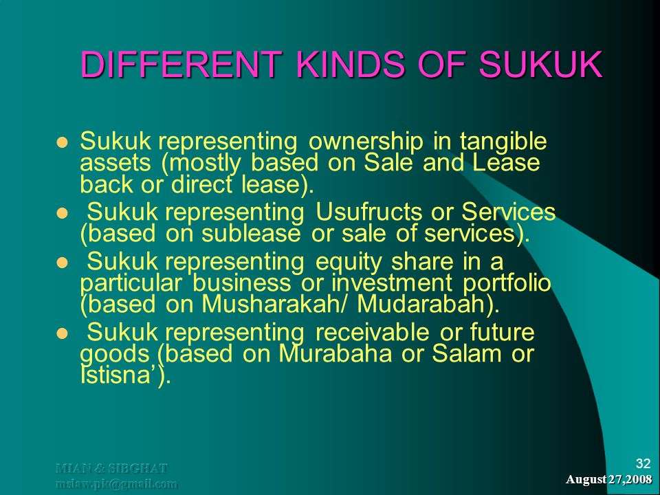 DIFFERENT KINDS OF SUKUK