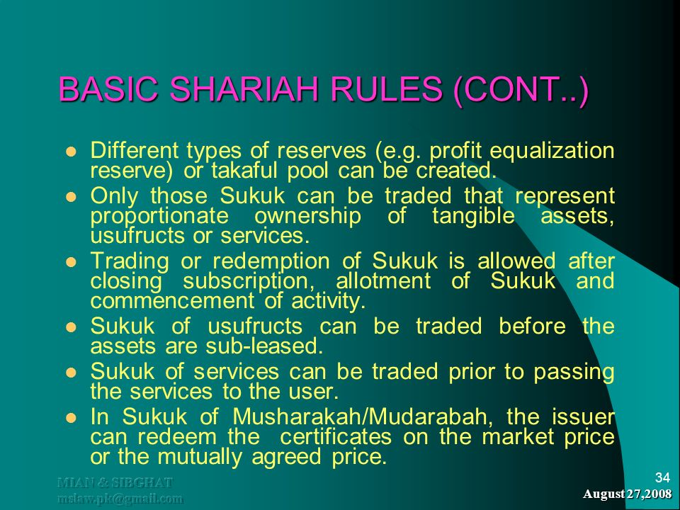 BASIC SHARIAH RULES (CONT..)