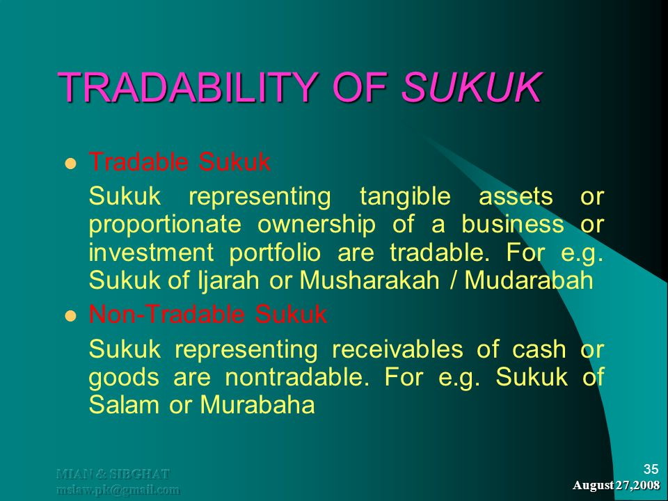 TRADABILITY OF SUKUK Tradable Sukuk