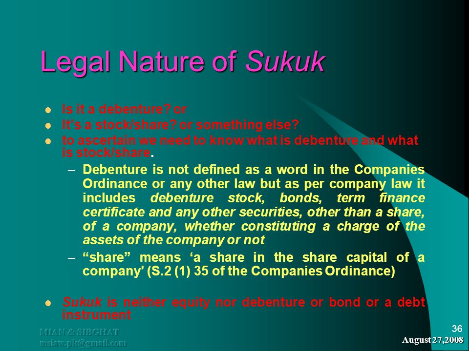 Legal Nature of Sukuk Is it a debenture or