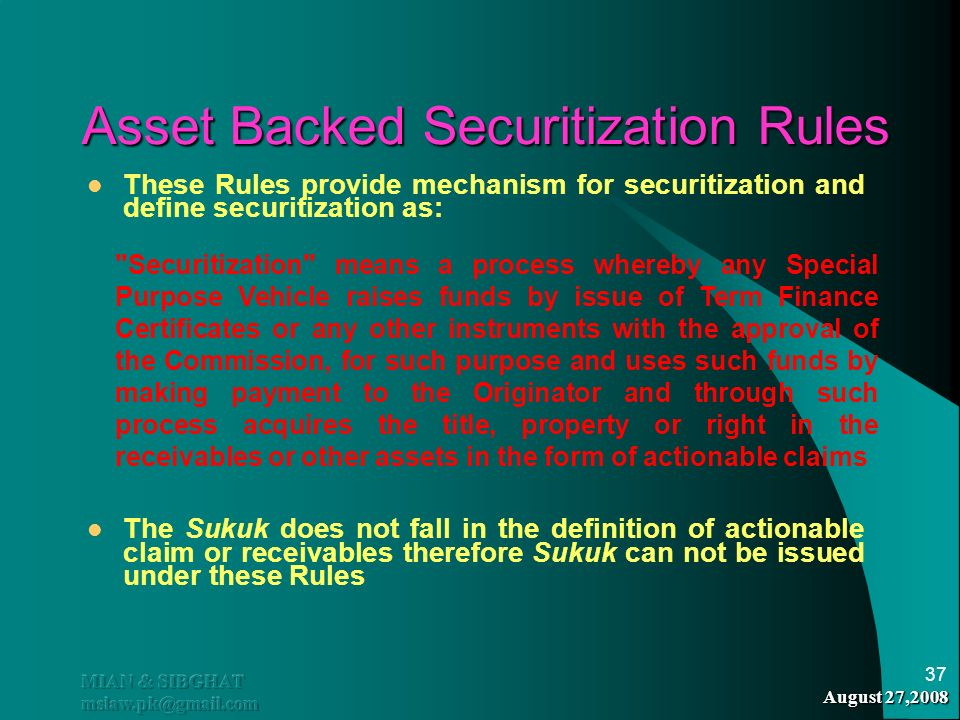 Asset Backed Securitization Rules