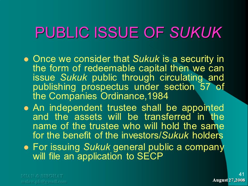 PUBLIC ISSUE OF SUKUK