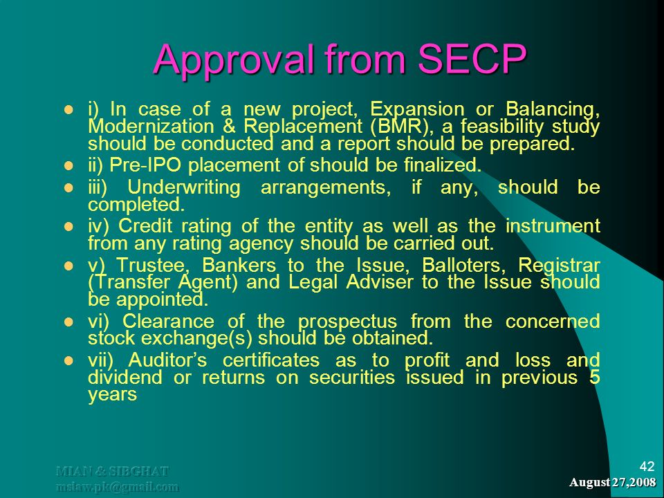Approval from SECP
