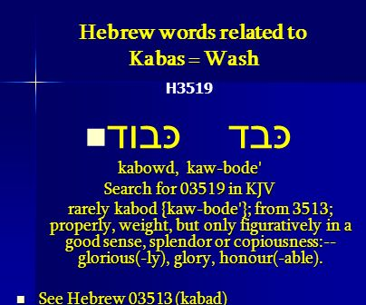 Hebrew words related to Kabas = Wash