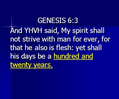 GENESIS 6:3 And YHVH said, My spirit shall not strive with man for ever, for that he also is flesh: yet shall his days be a hundred and twenty years.