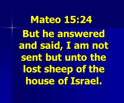Mateo 15:24 But he answered and said, I am not sent but unto the lost sheep of the house of Israel.