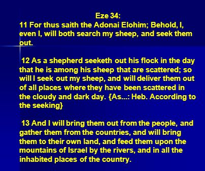 Eze 34: 11 For thus saith the Adonai Elohim; Behold, I, even I, will both search my sheep, and seek them out.