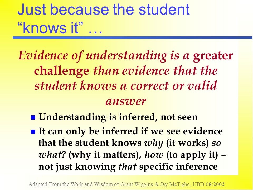 Just because the student knows it …