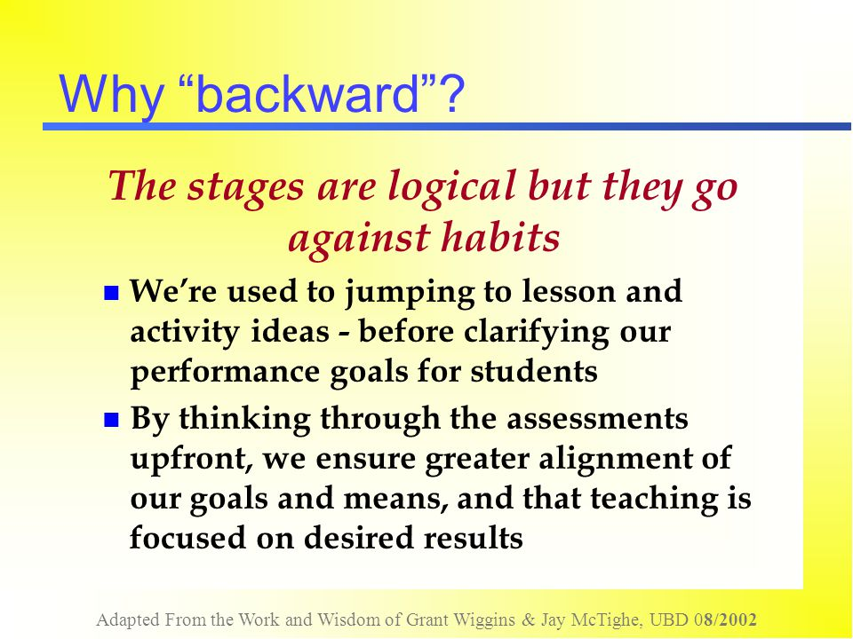 The stages are logical but they go against habits
