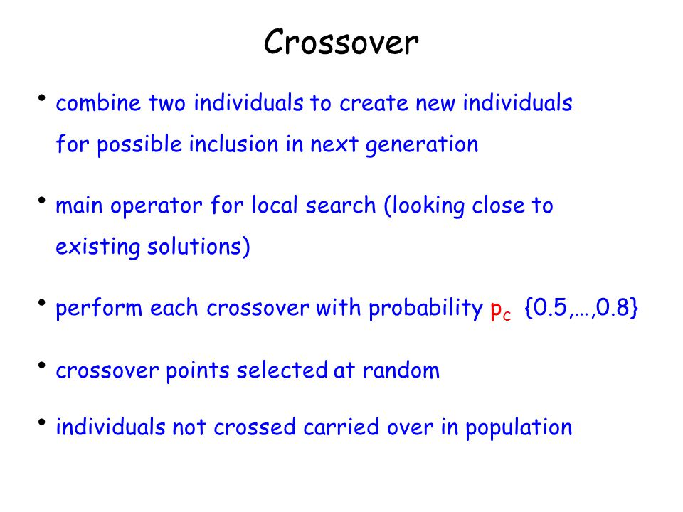 Crossover combine two individuals to create new individuals