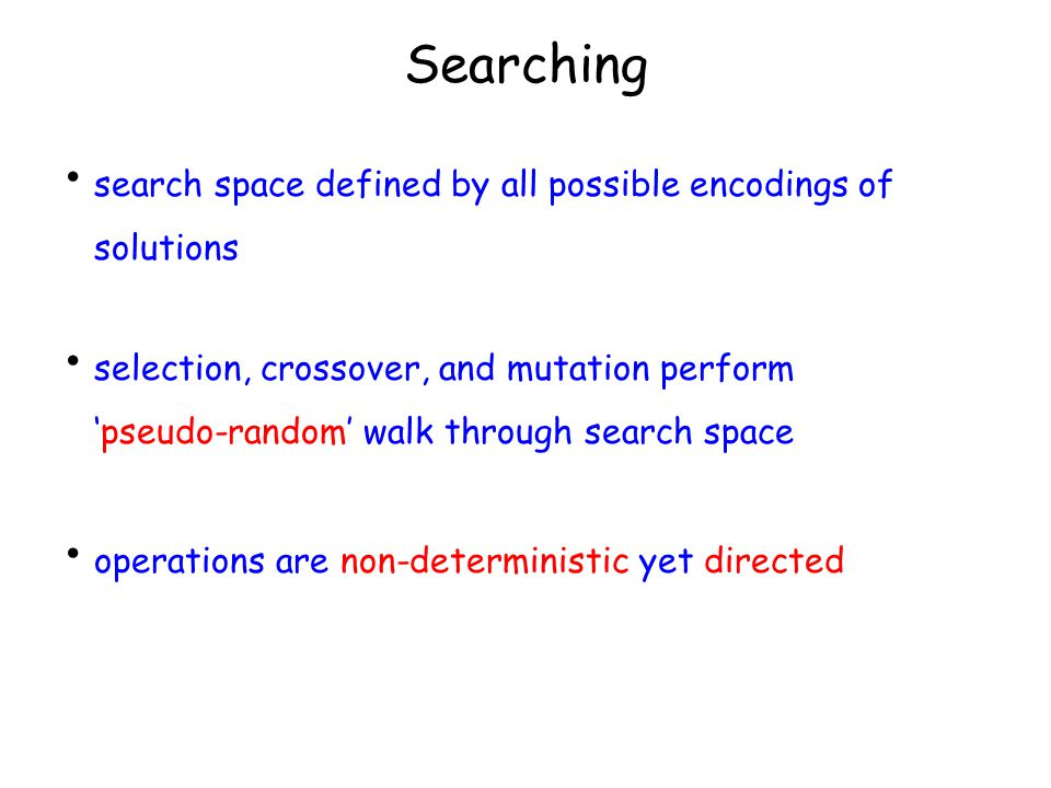 Searching search space defined by all possible encodings of solutions