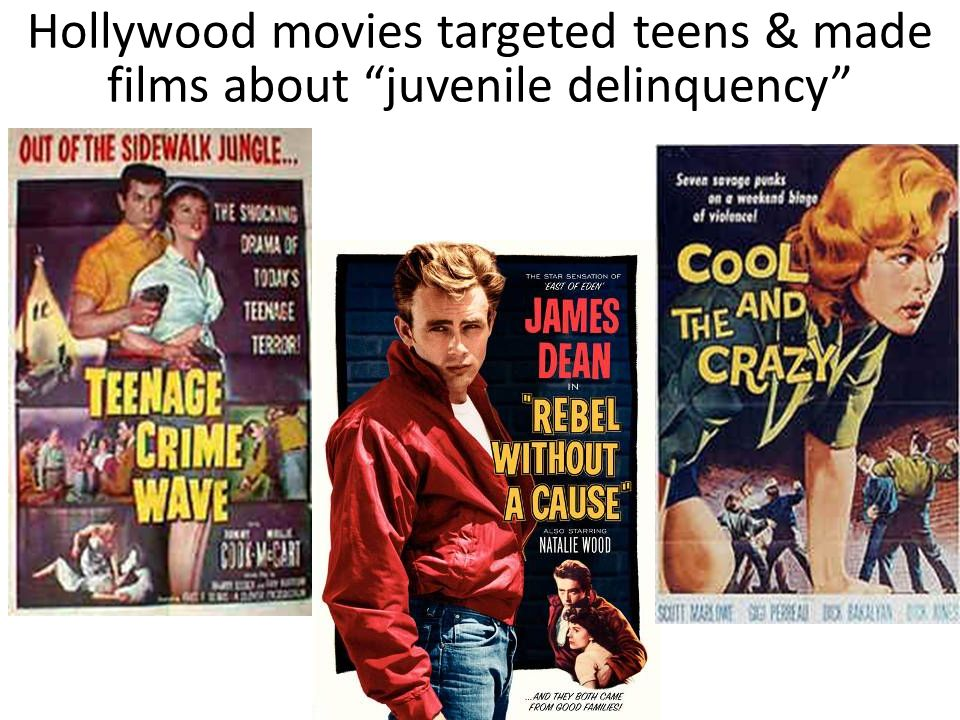 Hollywood movies targeted teens & made films about juvenile delinquency