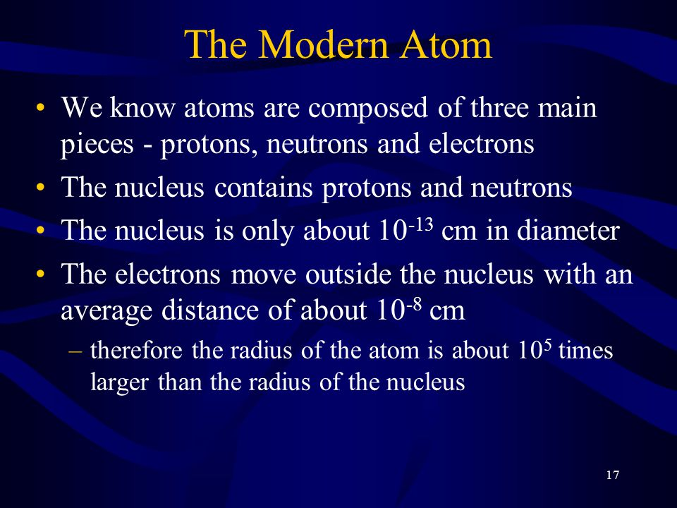 The Modern Atom We know atoms are composed of three main pieces - protons, neutrons and electrons. The nucleus contains protons and neutrons.