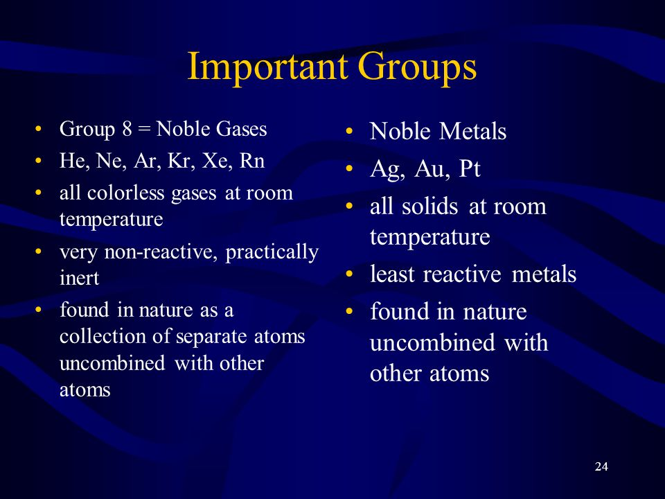 Important Groups Noble Metals Ag, Au, Pt
