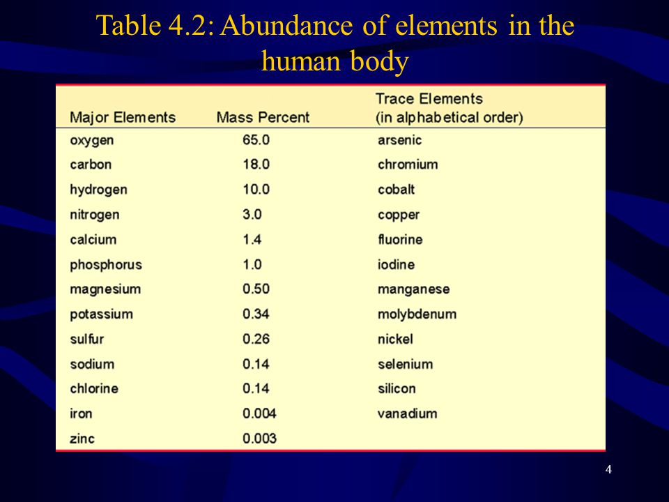 Table 4.2: Abundance of elements in the human body
