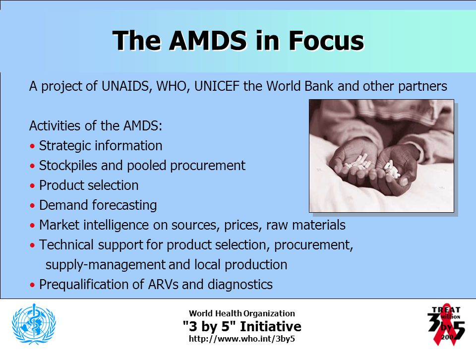 The AMDS in Focus A project of UNAIDS, WHO, UNICEF the World Bank and other partners. Activities of the AMDS: