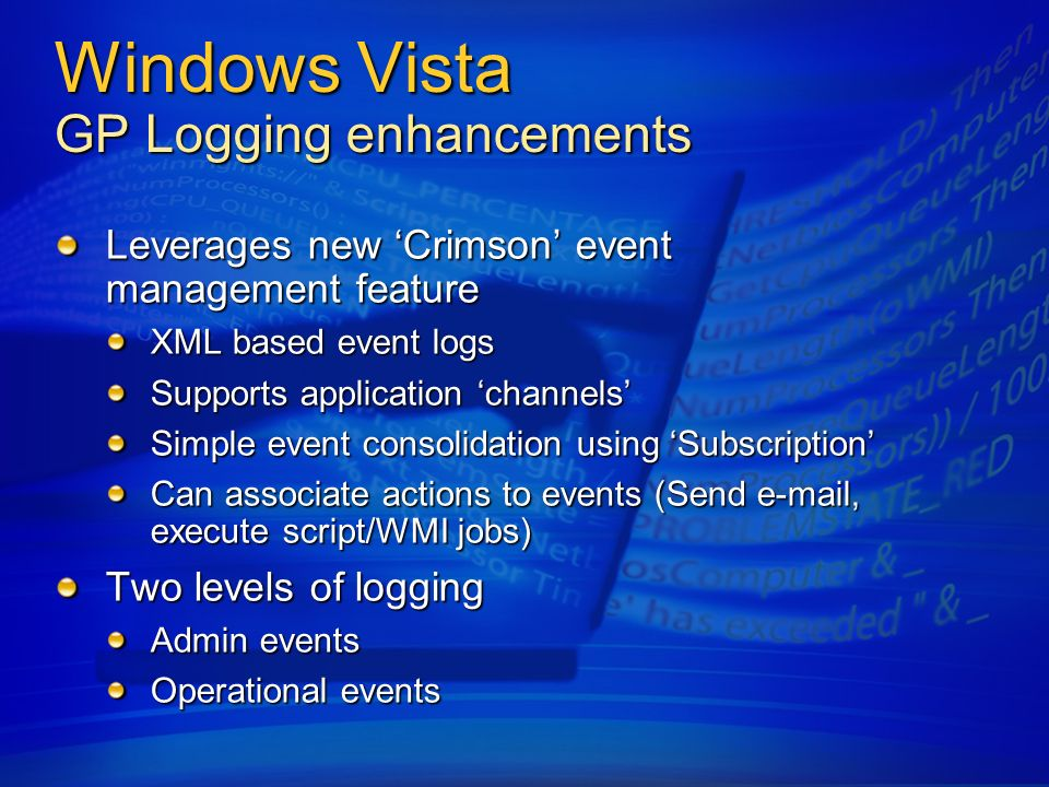 Windows Vista GP Logging enhancements