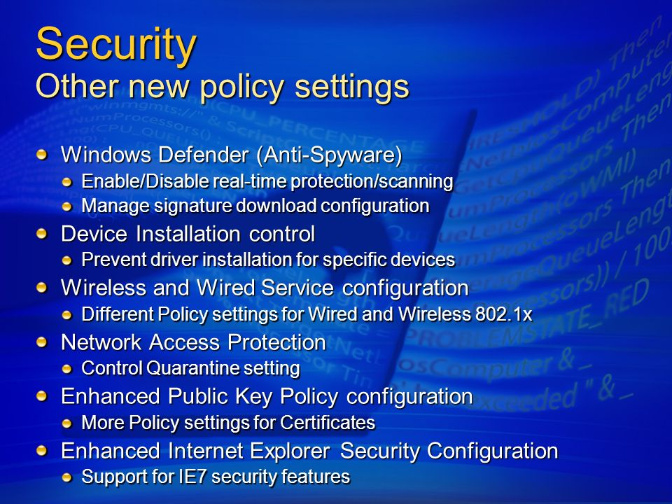 Security Other new policy settings