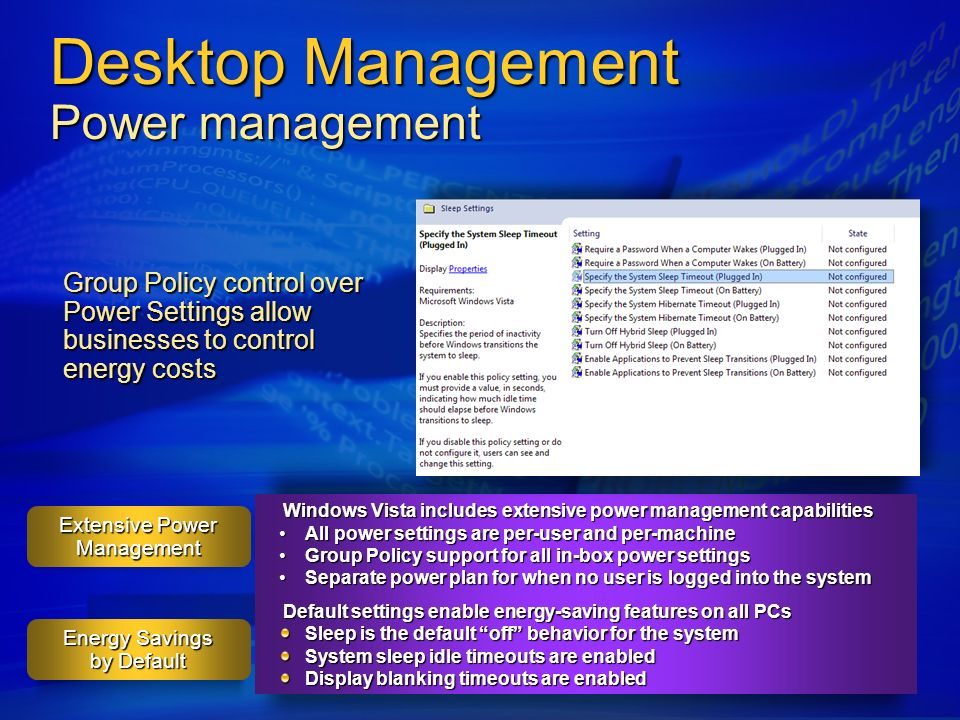 Desktop Management Power management