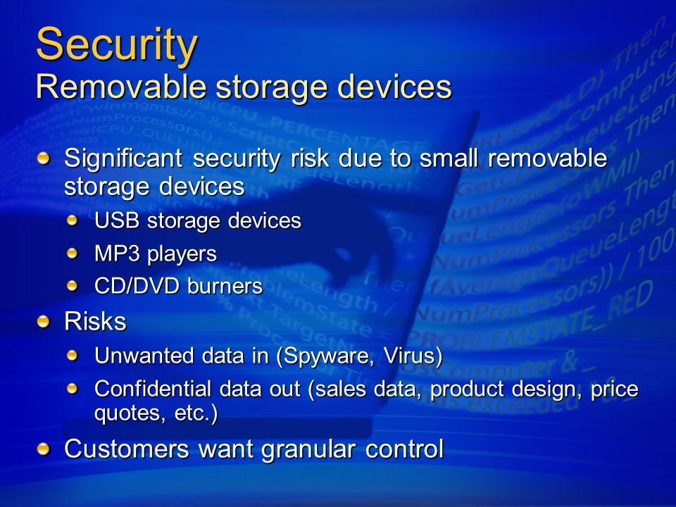 Security Removable storage devices