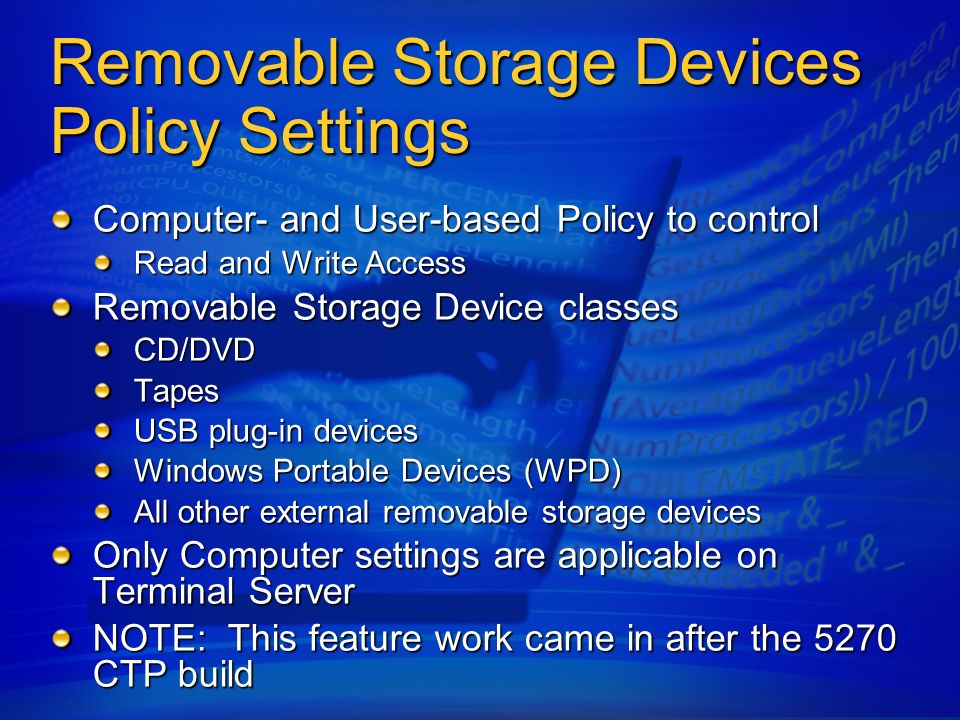 Removable Storage Devices Policy Settings