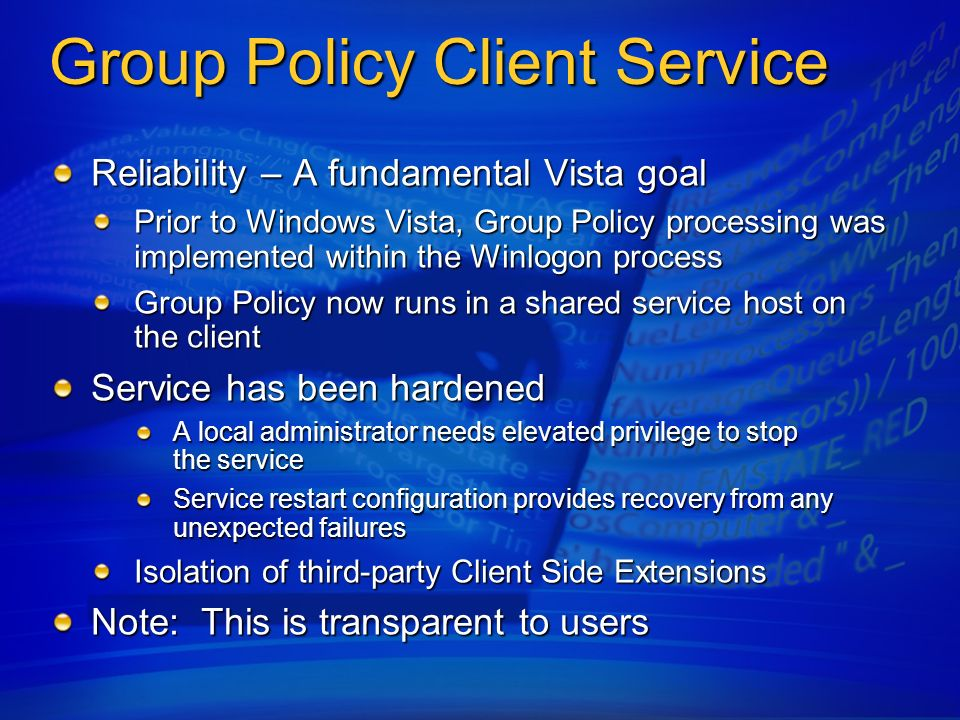 Group Policy Client Service